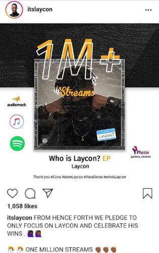 BBNaija: Laycon's EP 'Who Is Laycon' Hits 1 Million Streams