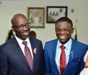 obaseki shaibu 300x255 - #Edo Decides: David Mark Congratulates Obaseki, Shaibu