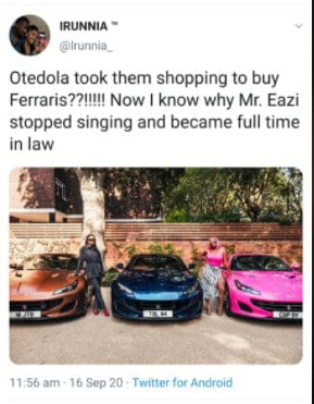 5f623a23ac95e - Tweeps Mock Mr Eazi As Otedola Buys His Girlfriend & Her Sisters Ferraris