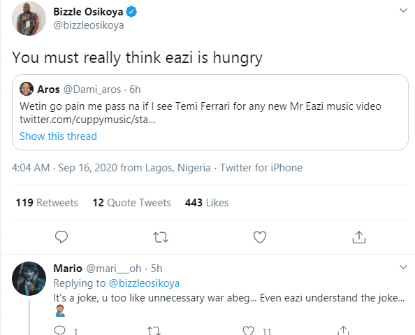 5f623be321130 - Tweeps Mock Mr Eazi As Otedola Buys His Girlfriend & Her Sisters Ferraris