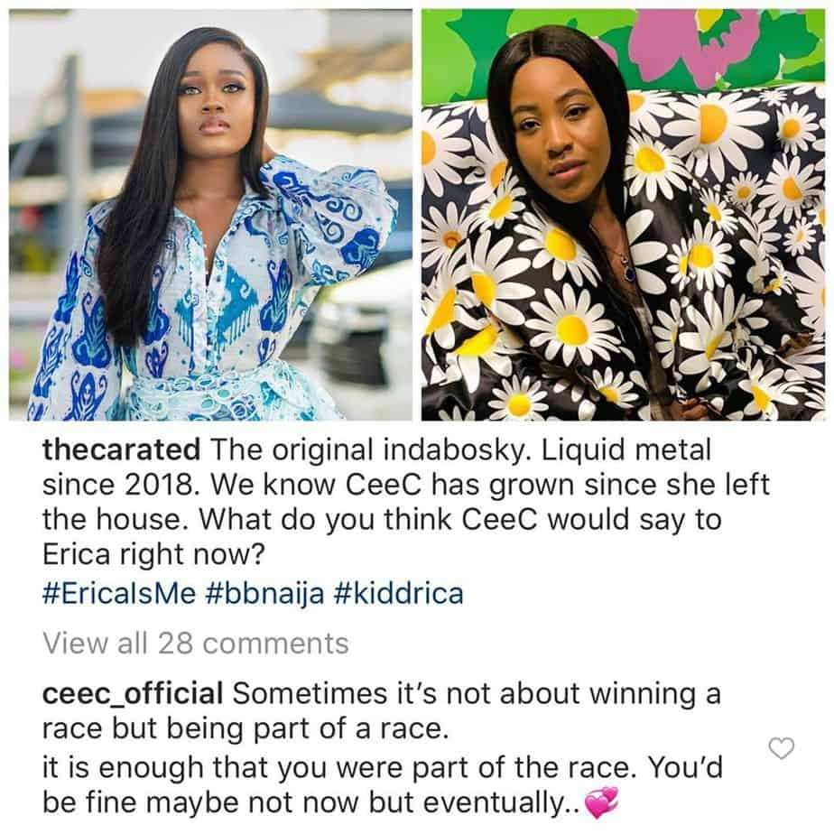Ex-BBNaija Star Cee C Reacts To Erica's Disqualification From  Big Brother