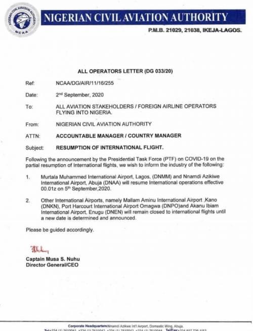 NCAA Letter - International Flights: NCAA Confirms Lagos, Abuja Airports Resumption Date