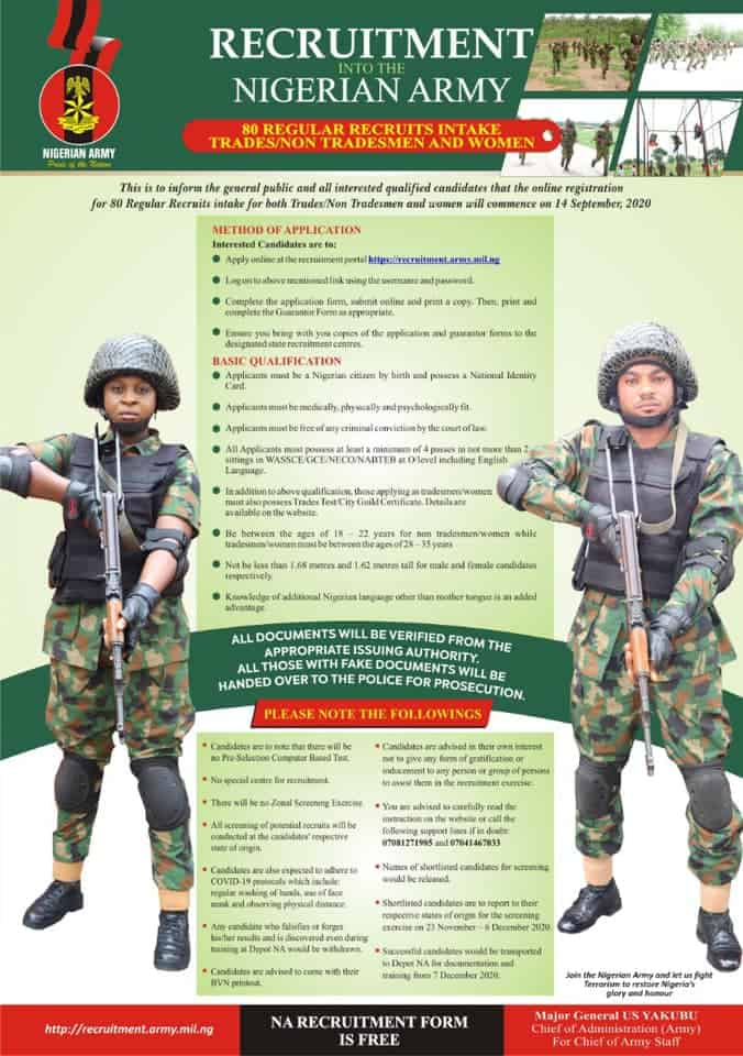 Nigerian Army recruitment fresh - Nigerian Army Opens Portal For Fresh 2020 Recruitment (See Details And How To Apply)