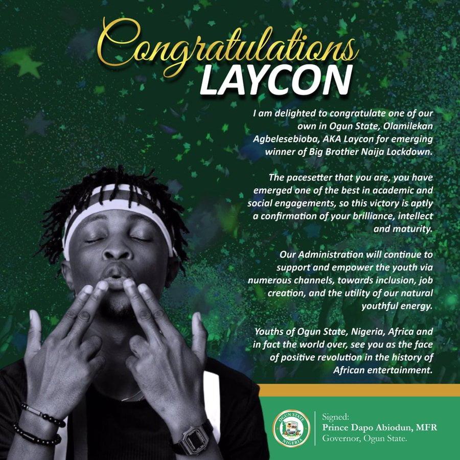 BBNaija: Ogun Governor Congratulates Laycon For Winning N85m Grand Prize
