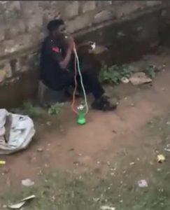 Police officer smoking shisha 243x300 - Nigerian Police Officer Caught Smoking Shisha (Video)