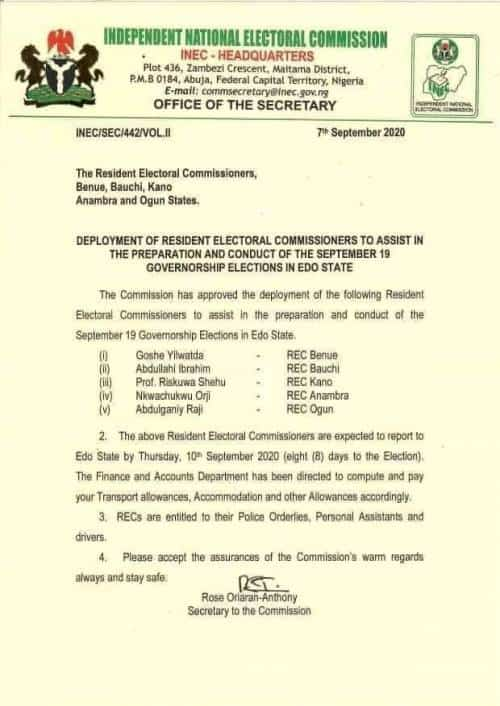 WhatsApp Image 2020 09 13 at 10.39.23 PM - INEC Official Known For Conducting 'Violent, Fraudulent Elections' To Oversee Edo Election