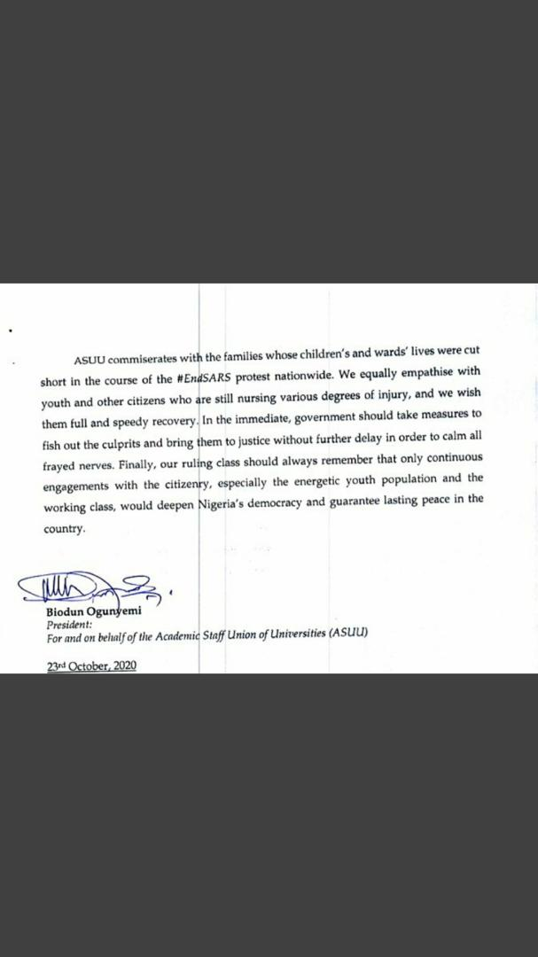20201024 083914 - Lekki Shooting: ASUU Makes Demands From FG