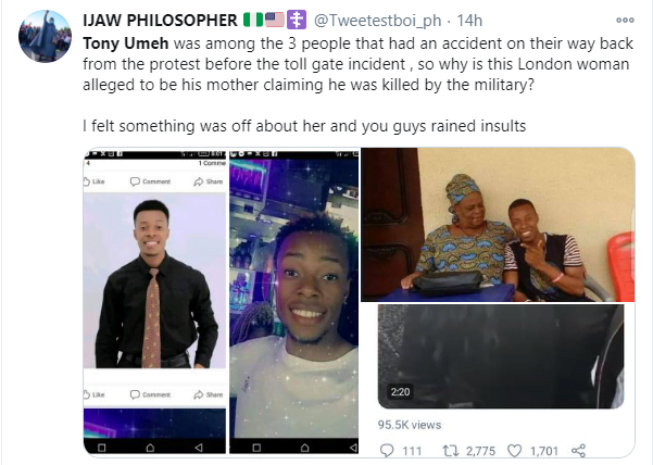 5f97b7fc61a97 - 'You Are A Liar' – Nigerians Counter Woman's Claim That Her Son Died At Lekki Toll Gate Shooting
