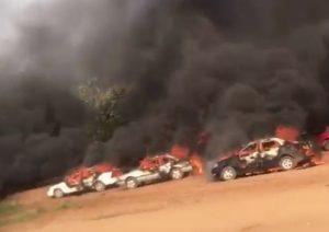 Abuja Endsars car burning 300x212 - Thugs Burn Cars, Attack #EndSARS Protesters In Abuja (Video)