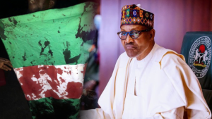 Buhari and Nigerian Flag 300x169 - Buhari Gives Ministers One Week To Submit Reports On #EndSARS