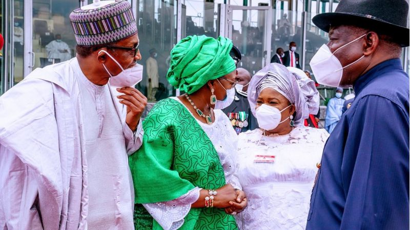 Here, former President Buhari was defeated in the 2015 election by Goodluck Jonathan and his wife Patience and Buhari and the queen joking at Eagle Square in Abuja, on the occasion of Independence Day.
