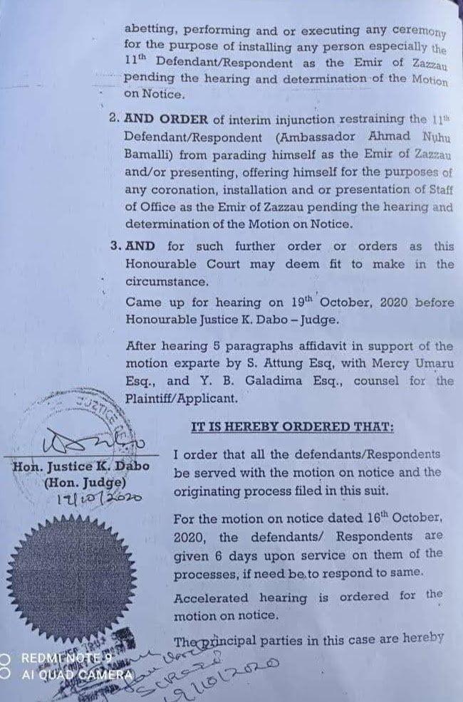 IMG 20201020 WA0044 - Bashir Aminu Halts Installation Of Bamalli As Emir Of Zazzau
