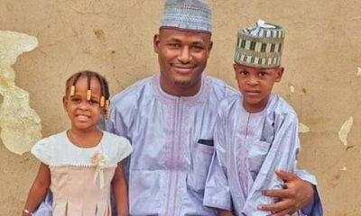 Late Yusuf and Zahra'u pictured with their father, Ibrahim Haruna Aminu