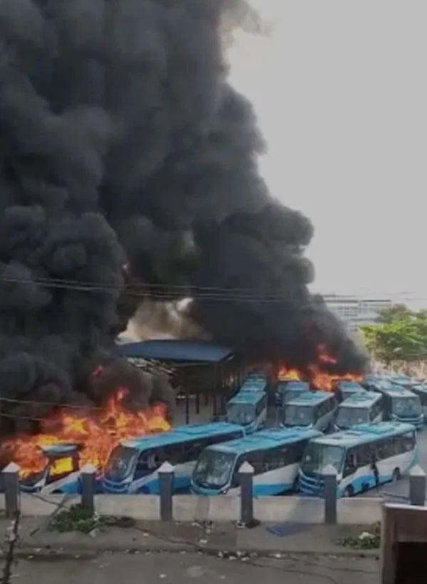 Oyingbo Station in Lagos as it catches fire - Important Places Burnt By Hoodlums In Lagos