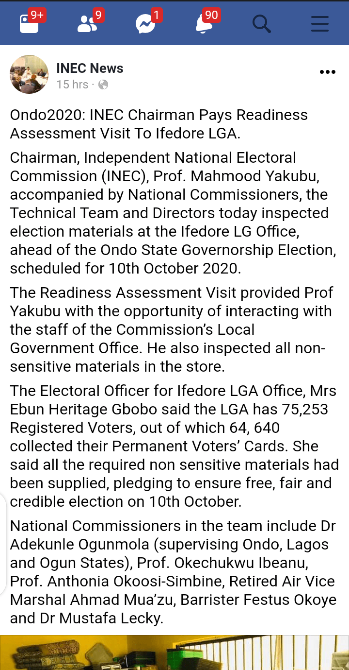 Screenshot 20201005 080708 - Ondo2020: INEC Chairman Pays Readiness Assessment Visit To Ondo Ahead Of October 10 Polls