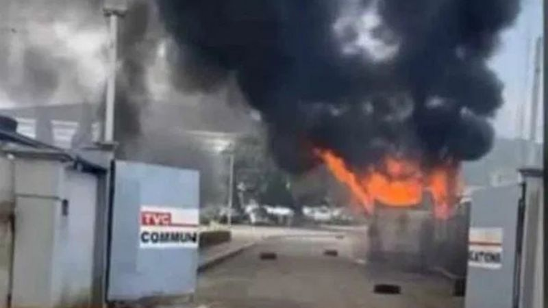 TVC studio properties on fire - Important Places Burnt By Hoodlums In Lagos