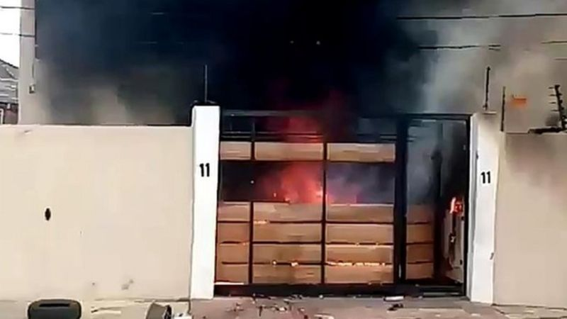 The home of Governor Sanwo Olus mother while on fire - Important Places Burnt By Hoodlums In Lagos