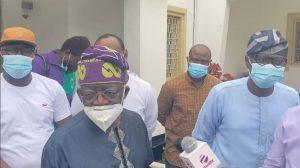 Tinubu at Sanwo Olu house 300x168 - 'If You're Jagaban, Walk On The Streets Without Security' – Nigerians Dare Tinubu