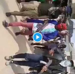 Youths in Aba 300x294 - #EndSARS: Watch Youths Protesting With Guns In Aba (Video)