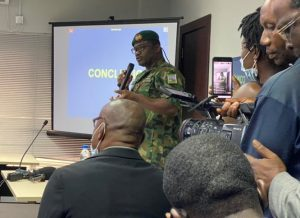 Brig General Ahmed Taiwo at EndSARS Panel Lagos 300x218 - Lekki Shootings: Only Buhari Has The Power To Order Deployment Of Soldiers – Army General