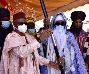 El Rufai and Emir of Zazzau 300x252 - El-Rufai Presents Staff Of Office To Ahmad Bamalli As 19th Emir Of Zazau (Photos)