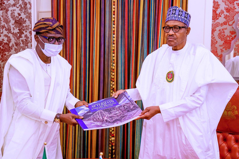 EmJpGAQXYAEO8qK - Sanwo-Olu Presents Report Of #EndSARS Protests In Lagos To President Buhari (Photos)