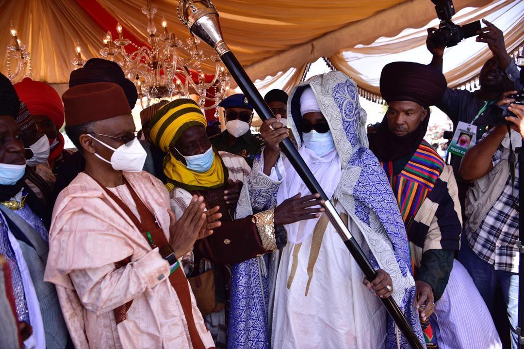 EmX ergXYAAp2um - El-Rufai Presents Staff Of Office To Ahmad Bamalli As 19th Emir Of Zazau (Photos)