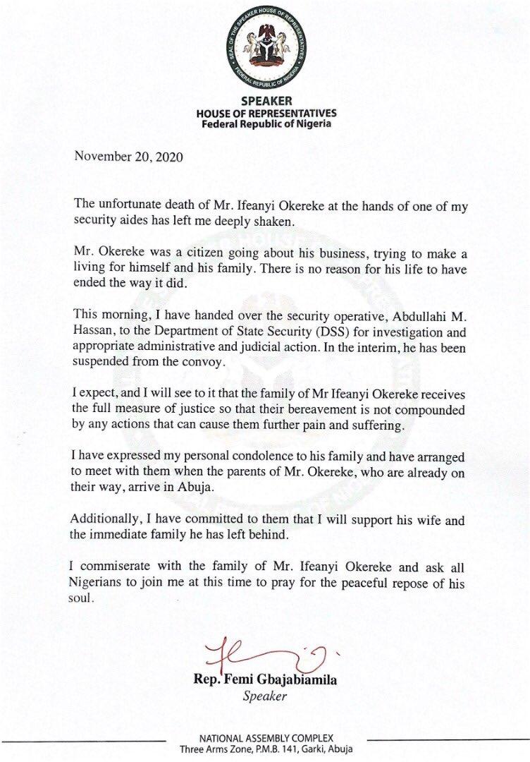 EnRRSUBXIAM6GRJ - Gbajabiamila Reveals Name, Identity Of Aide Who Killed Abuja Newspaper Vendor