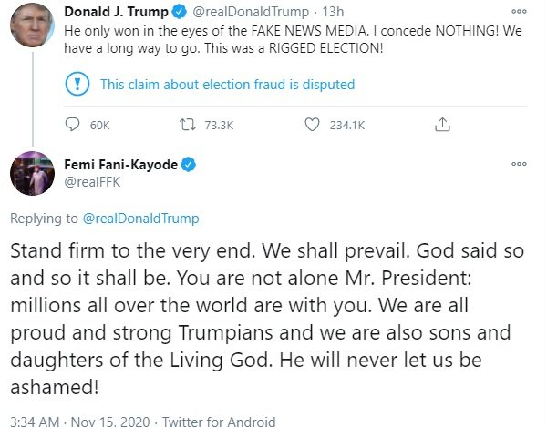 FFK Trump - US Election: Fani-Kayode Reacts After Trump Statement On How Biden Won America's Election