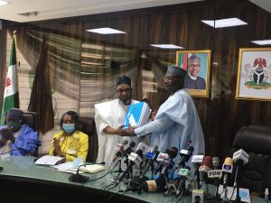 INEC Mahmood hands over to Muazu 300x225 - Breaking: Muazu Takes Over From Yakubu As Acting INEC Chairman