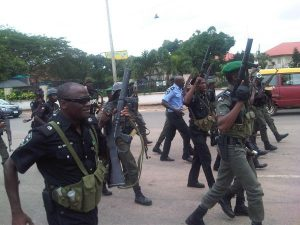 Nigerian Policemen 300x225 - Angry Mob Attack Security Operatives In Oyo