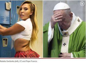 Pope and Natasha 300x218 - Pope Francis' Instagram Account 'Likes' Bikini Model's Photo