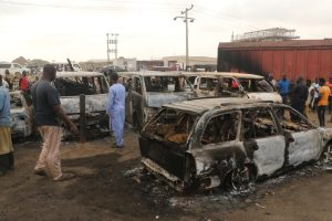 lagos kara fire 300x200 - 2 Dead, Over 20 Vehicles Burnt As Tanker Explodes On Kara Bridge