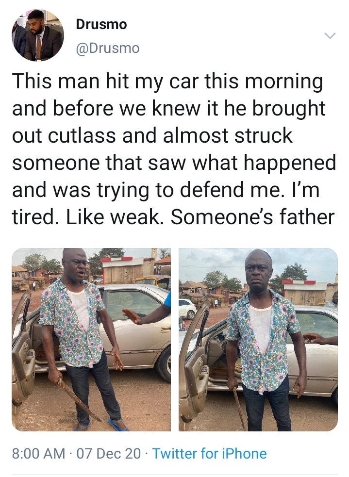 Cutlass Man victim - Moment 'Frustrated' Man Attempted To Butcher Another Man After Hitting His Car – [Photos]