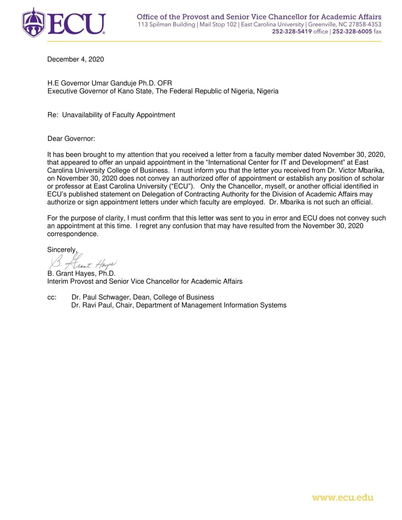 Eoal7OHXEAIlwVB - We Didn't Appoint Ganduje As Visiting Professor – American University Speaks Out