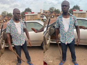Frustrated man 300x225 - Moment 'Frustrated' Man Attempted To Butcher Another Man After Hitting His Car – [Photos]