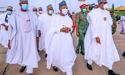 President Buhari with Governor Masari on his way to Daura from Katsina