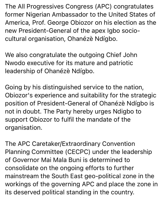 ErZIu9FXcAQg5 V - APC Reacts As Obiozor Is Elected New President Of Ohanaeze Ndigbo