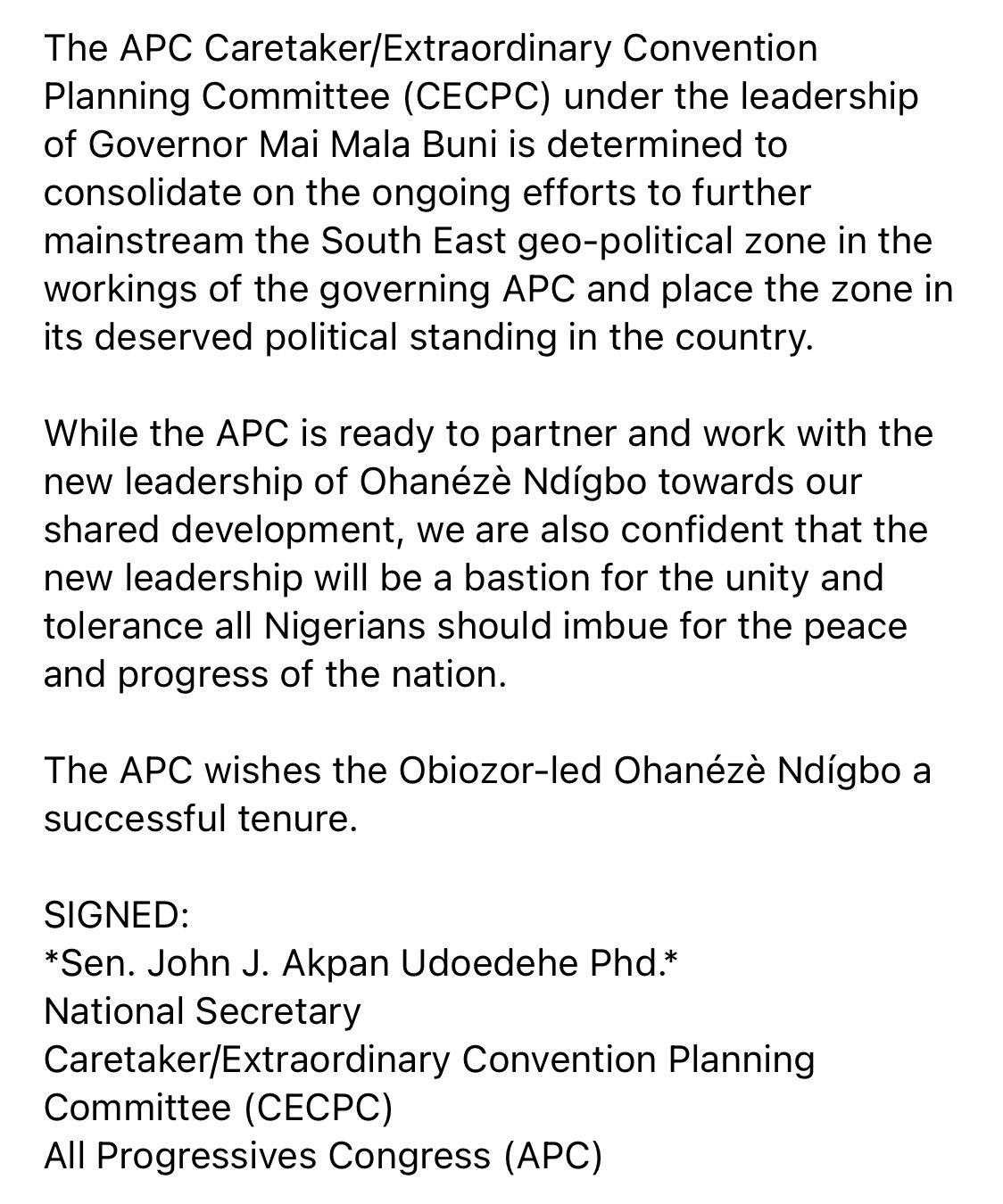ErZIu9nXEAIAlPI - APC Reacts As Obiozor Is Elected New President Of Ohanaeze Ndigbo