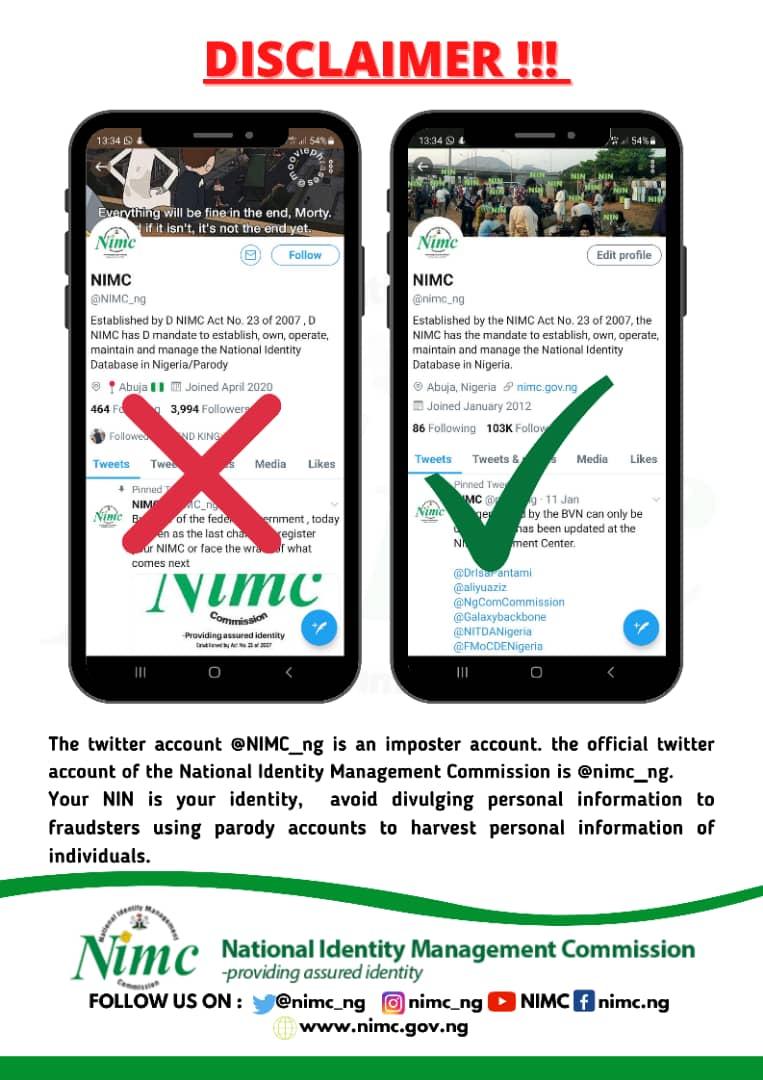 EsGRqrIXYAcfV6X - NIN: Pantami, NIMC Cry Out As Fake Twitter Account Threatens Nigerians On SIM Update