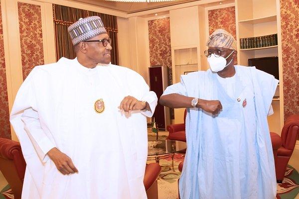 PRESIDENT BUHARI RECEIVES LAGOS GOV SANWO OLU 1B - President Buhari Meets Sanwo-Olu In Aso Villa (Photos)