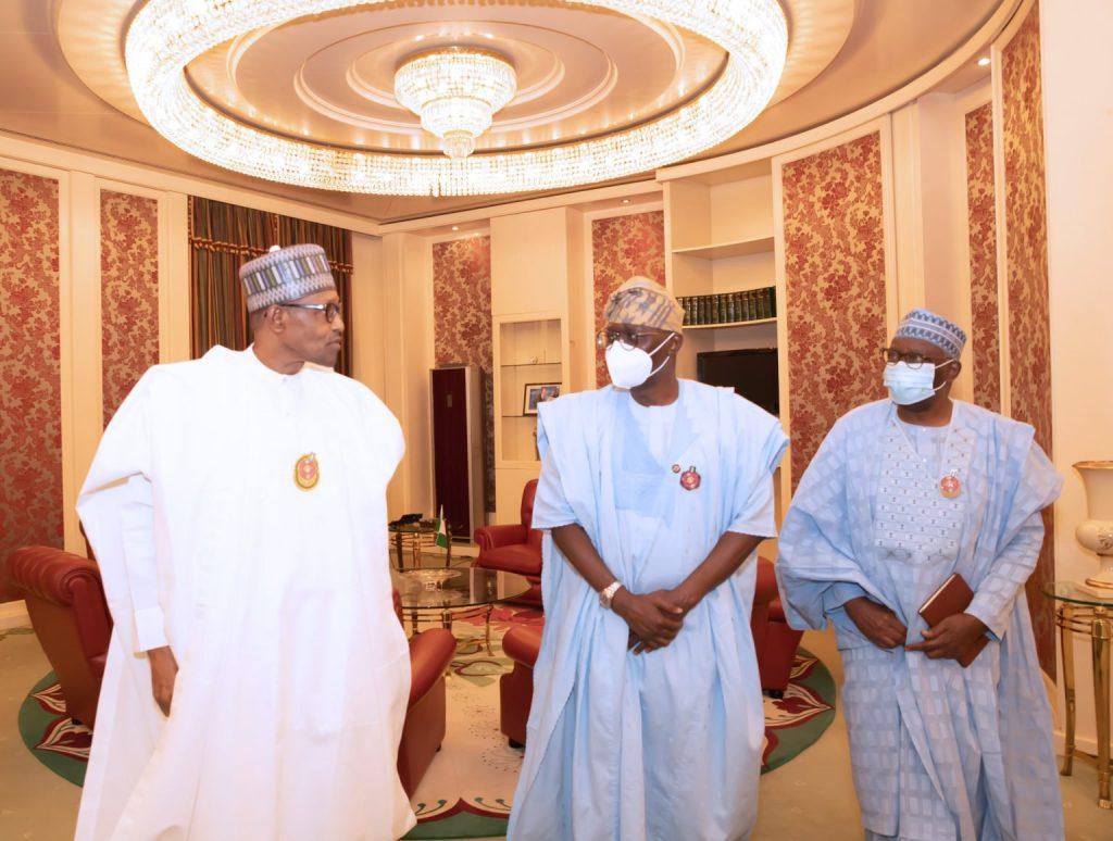 PRESIDENT BUHARI RECEIVES LAGOS GOV SANWO OLU 3B 1536x1161 1 1024x774 - President Buhari Meets Sanwo-Olu In Aso Villa (Photos)