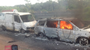 Photo of a ghastly road accident used to illustrate the story Photo Credit Tori 300x169 - 17 People Burnt To Death In A Car Accident In Nasarawa State
