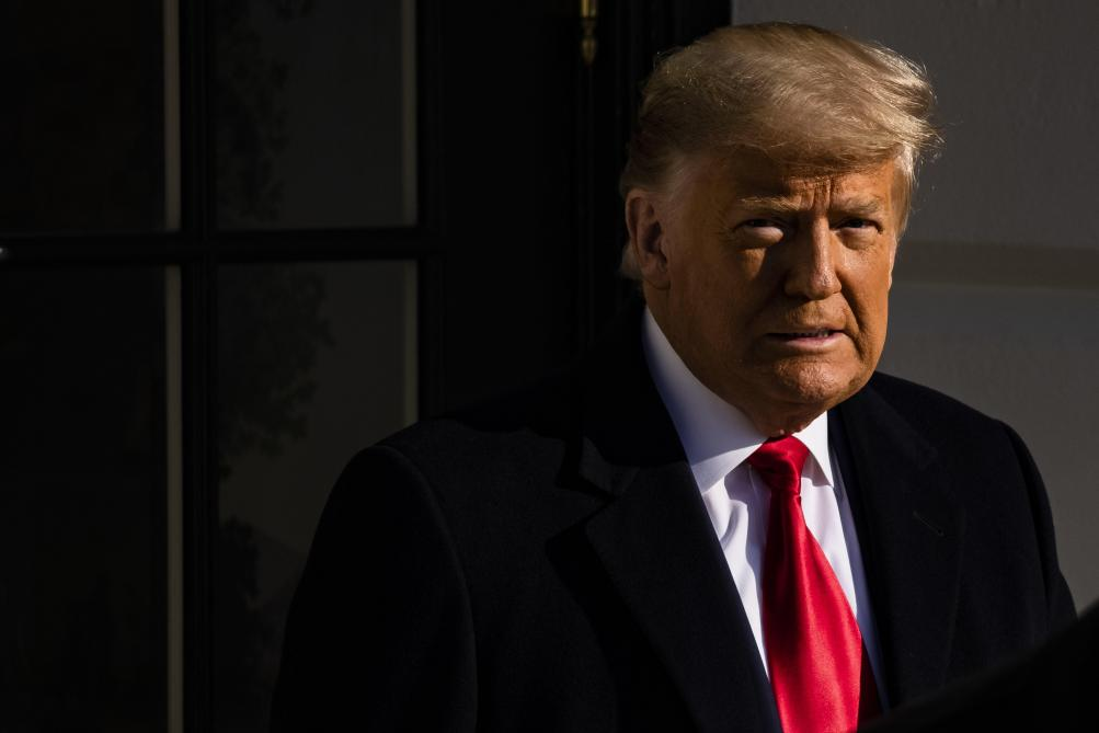 President Donald Trump leaves the White House in Washington, DC, United States, Tuesday, January 12, 2021. The President travels to Alamo, Texas, to visit the border wall between the United States and Mexico. This is the president's first appearance after the insurgency on Capitol Hill by his supporters. - Photo News
