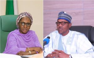 Zainab Ahmed and President Buhari 300x187 - Buhari Govt To Borrow Unclaimed Dividends, Dormant Bank Deposits To Finance 2021 Budget – Minister