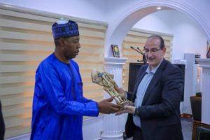 Zulum with Palestinian Ambassador Saleh Fheied Saleh 300x200 - Boko Haram: European Countries Support Us Than The Arabs – Governor Zulum