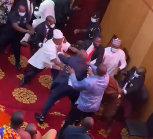 ghana 300x274 - VIDEO: Ghanaian Lawmakers Exchange Blows Over Majority Position