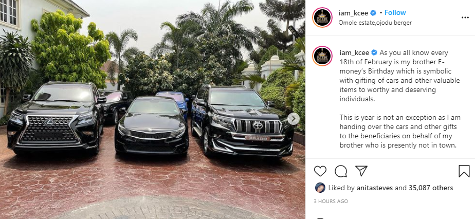 602e9ffdc1342 - E-Money Presents Luxury Cars To His Friends On His Birthday (Photos)