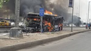 BRT bus fire 300x167 - Passengers Escape As BRT Bus Suddenly Catches Fire In Lagos