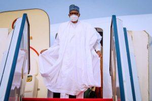 Buhari returns 300x200 - President Buhari Arrives Abuja From Daura (Photos)